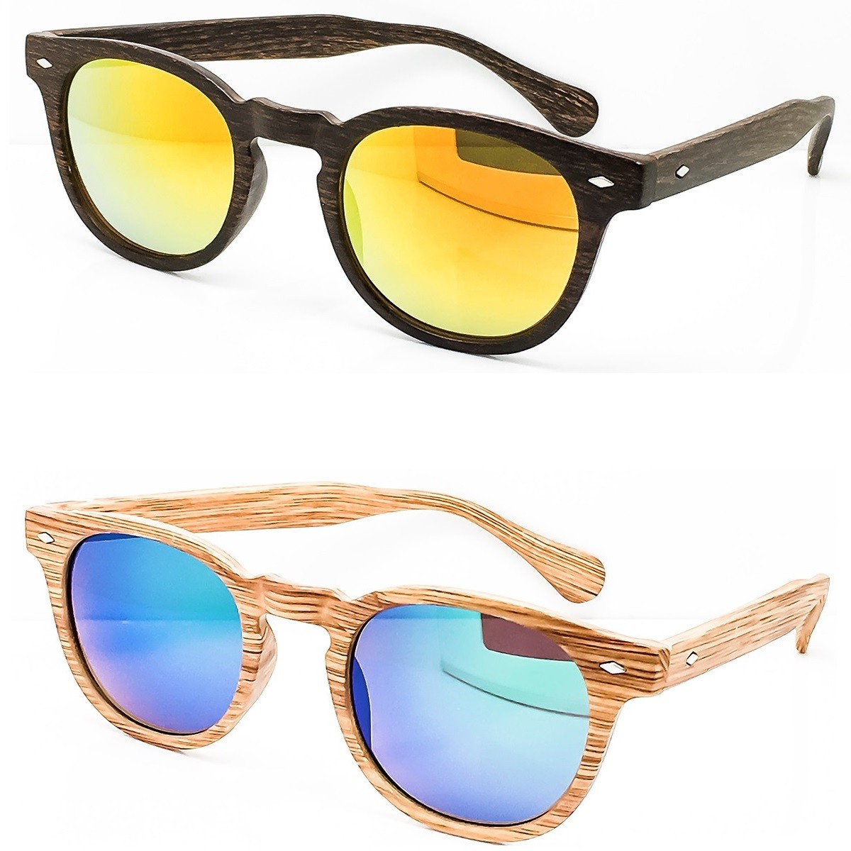 Sunglasses KISS® Line WOOD - style MOSCOT mod. DEPP Mirrored - VINTAGE Johnny Depp man woman CULT unisex
