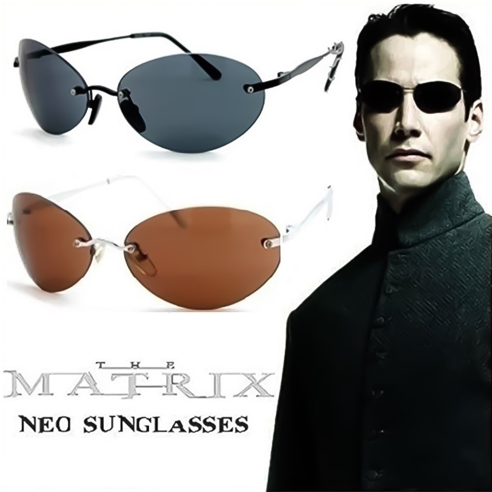 Occhiali da sole CULT MOVIE - stile MATRIX NEO - Film Trilogia VINTAGE uomo donna RIMLESS aviatore unisex