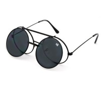 Sunglasses MYRETRO® - mod. PICCADILLY - man woman FLIP-UP round vintage STEAMPUNK