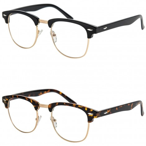 Glasses neutral KISS® - mod. CLUBMASTER vintage - frame CULT RETRO men women unisex