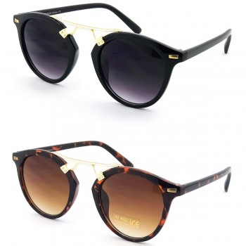 Sunglasses KISS® - mod. GOLDEN BRIDGE Round - man woman VINTAGE fashion unisex