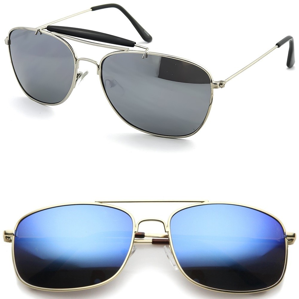 Sunglasses KISS® - mod. AIRCRAFT MIRRORED - man woman VINTAGE Style Aviatore PILOT