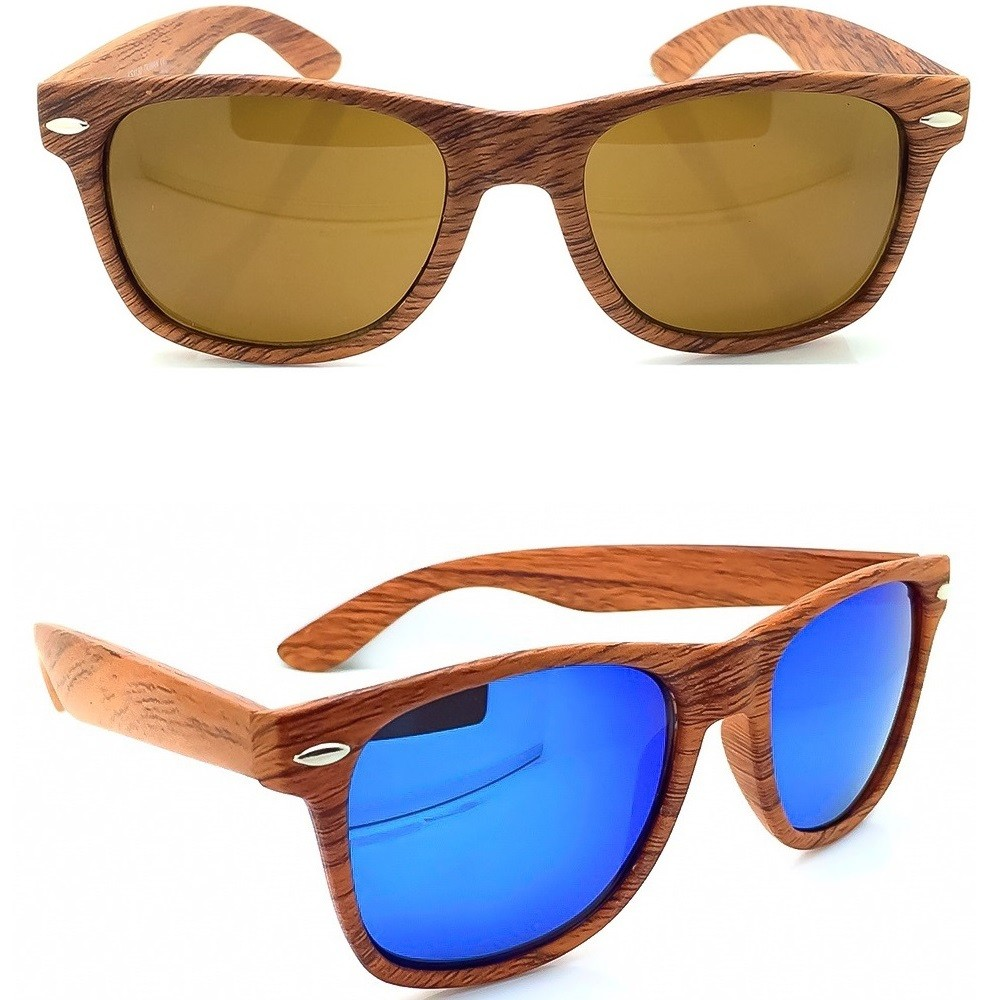 Sonnenbrille KISS® Linie WOOD - mod. BLUES BROTHERS - mann frau HOLZ-EFFEKT cult vintage FASHION