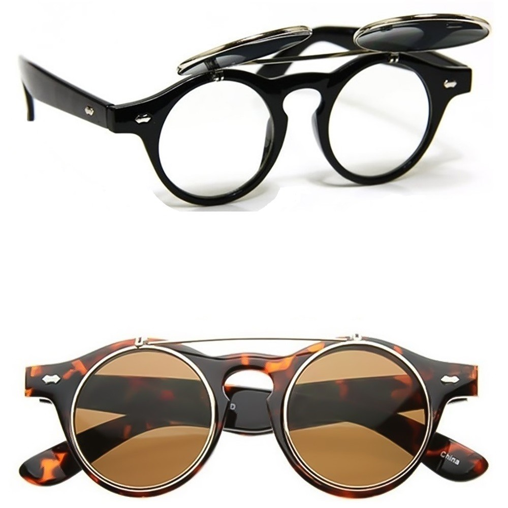 Sunglasses KISS® - mod. FLIP-UP Steampunk - Double Lens VINTAGE man woman unisex COOL retro