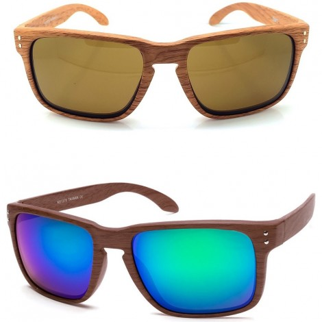 Sunglasses KISS® Line WOOD - mod. RACING FLAT Wood Effect - auto moto SPORTS man woman