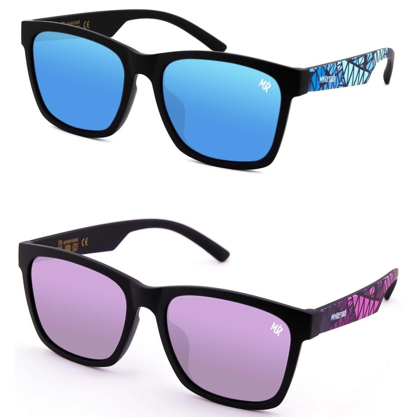Sonnenbrille Polarisiert KISS® - MyRetro PREMIUM mod. QUEEN'S - mann frau VINTAGE Abstract Art LIMITED