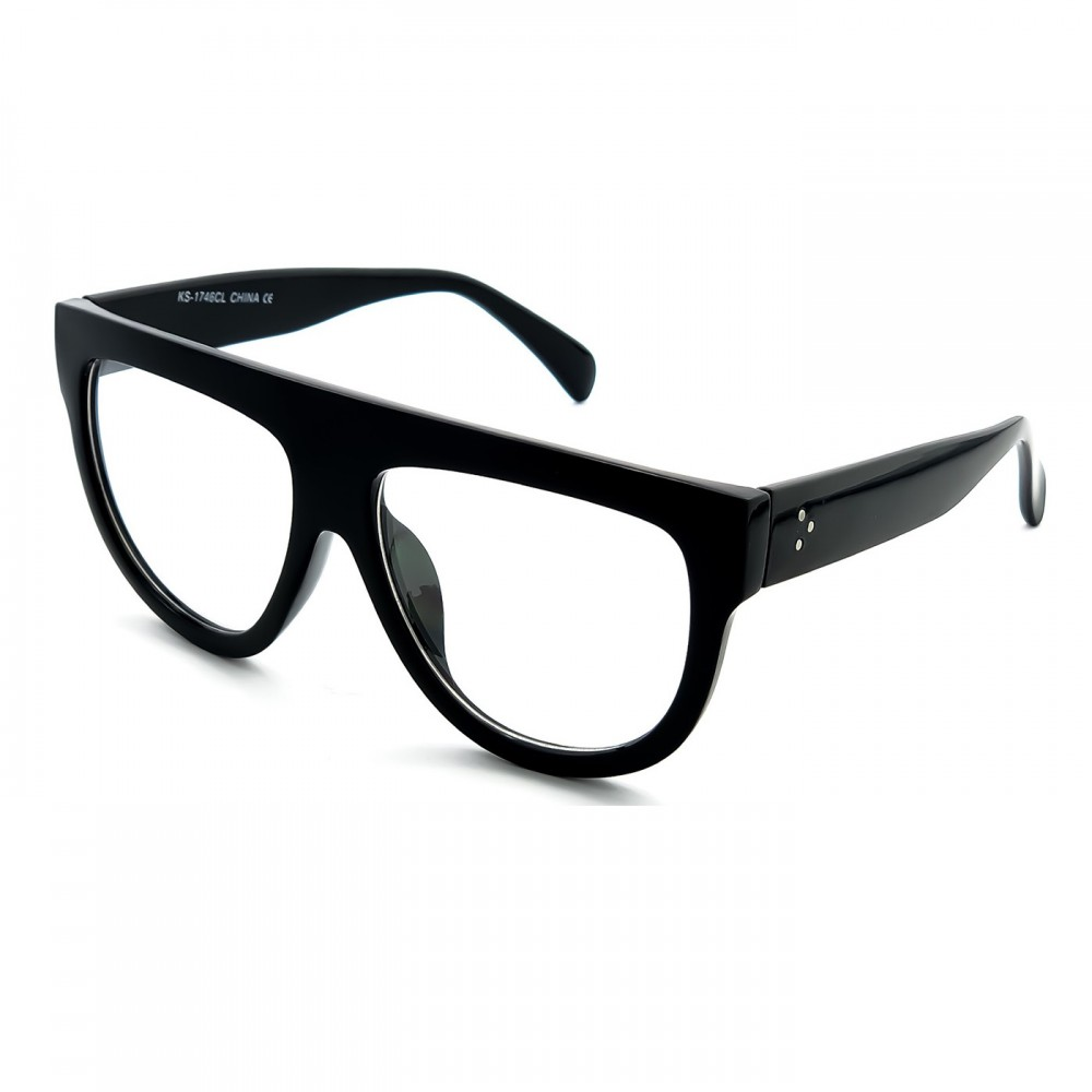 Neutral glasses KISS® - Flat Top mod. CRAZY HORNY - vintage oversized WOMAN optical frame