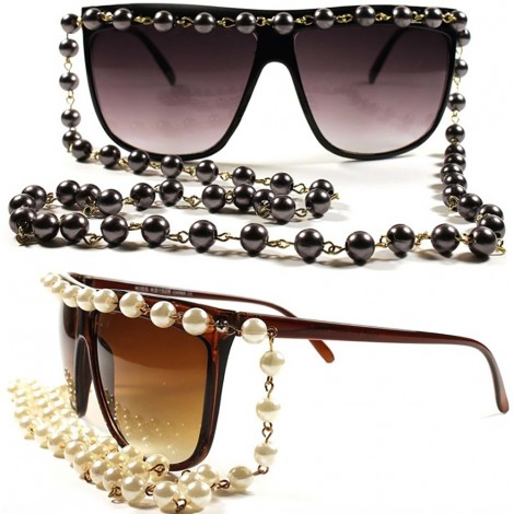 Sunglasses KISS® - WOMEN's Fashion CHAIN PEARL - exclusive cool retro CELEBRITY