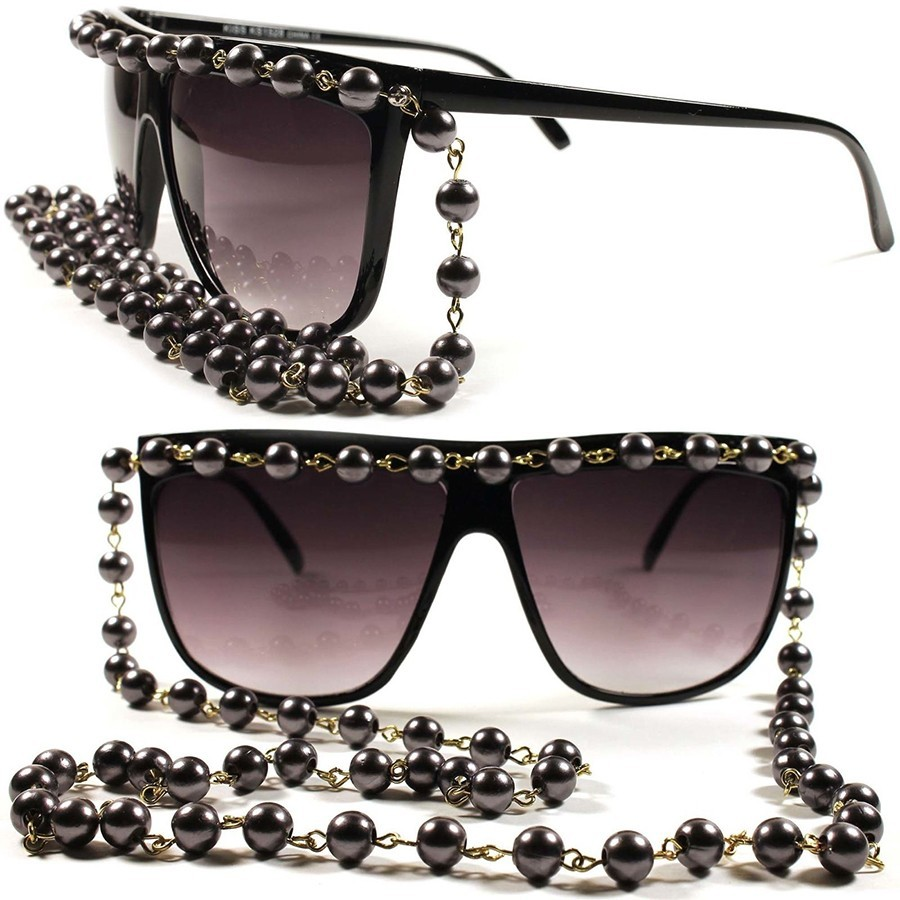 Gafas de sol KISS® - Oversize mod. PEARLACE - moda mujer VINTAGE chain edition SUPERB