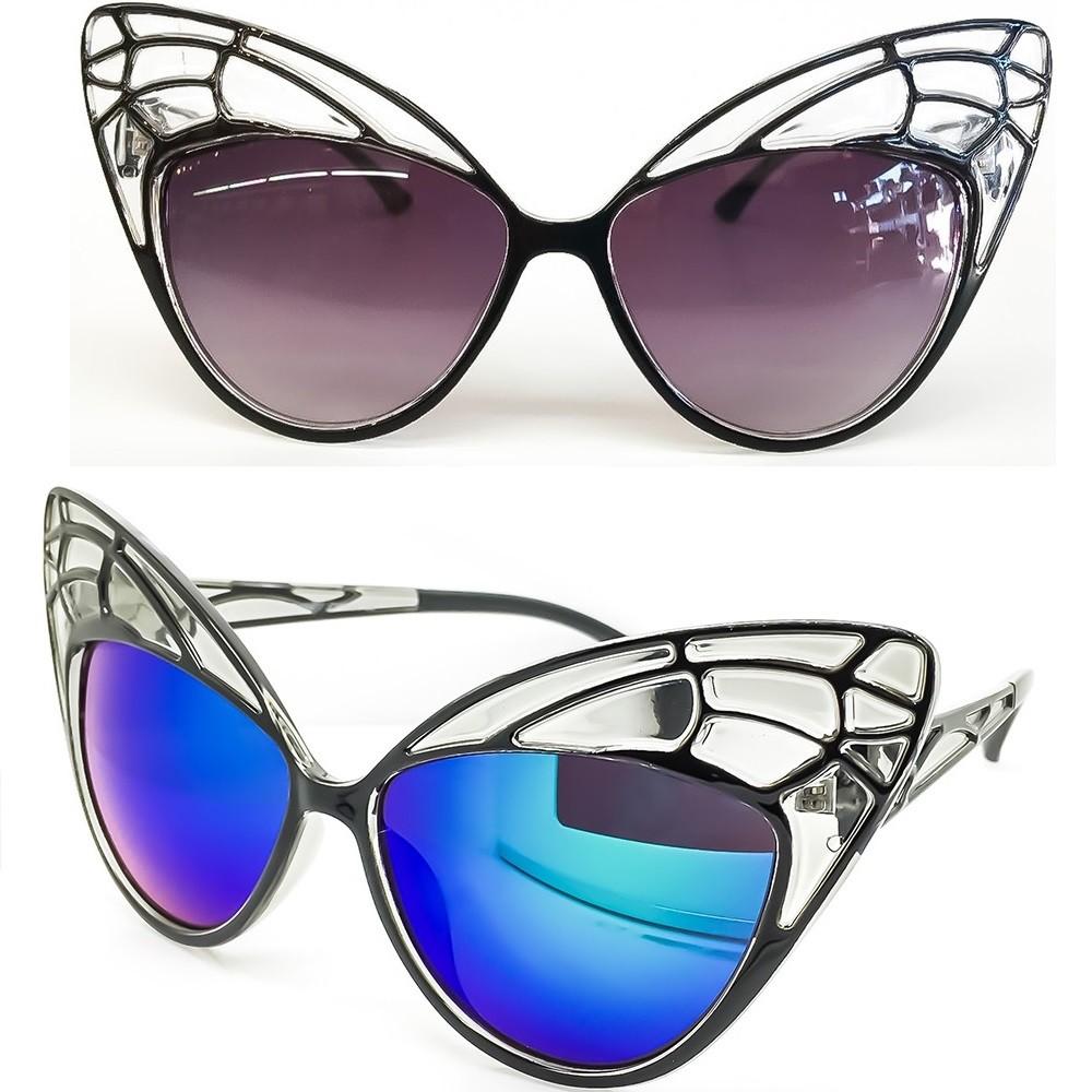 Occhiali da sole KISS® - CAT EYE mod. BUTTERFLY - donna fashion STRAVAGANTI vintage rockabilly - Colore : NERO / Oceano