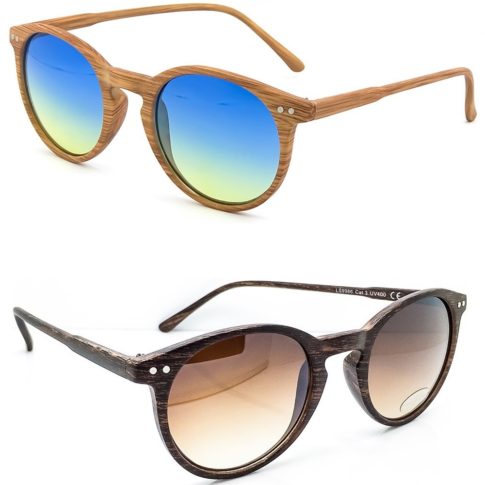 Occhiali da sole KISS® Linea WOOD - stile MOSCOT mod. WAVE Fumè Gradiente - TONDI uomo donna VINTAGE fashion unisex - Colore : NATURAL WOOD