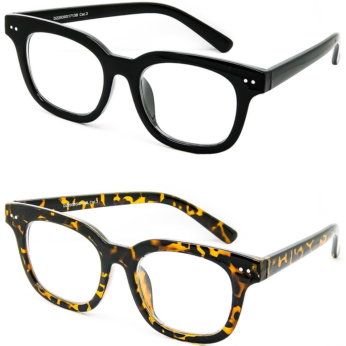 Glasses neutral KISS® - STYLE MOSCOT mod. BOXER - man woman VINTAGE optical frame COOL unisex - Color : BLACK