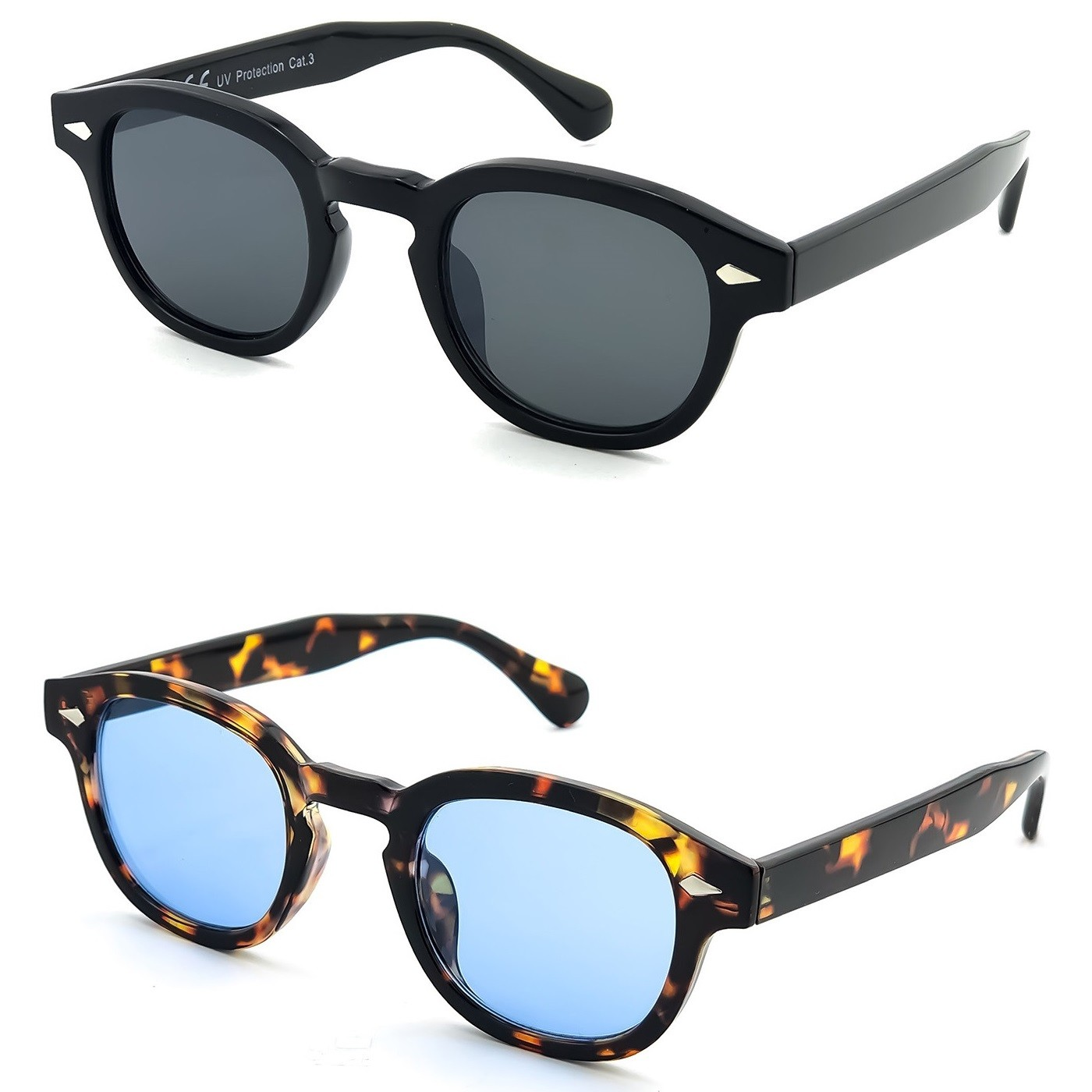 Sunglasses KISS® - style MOSCOT mod. DEPP ICONIC - Johnny Depp man woman VINTAGE unisex - Color : BLACK