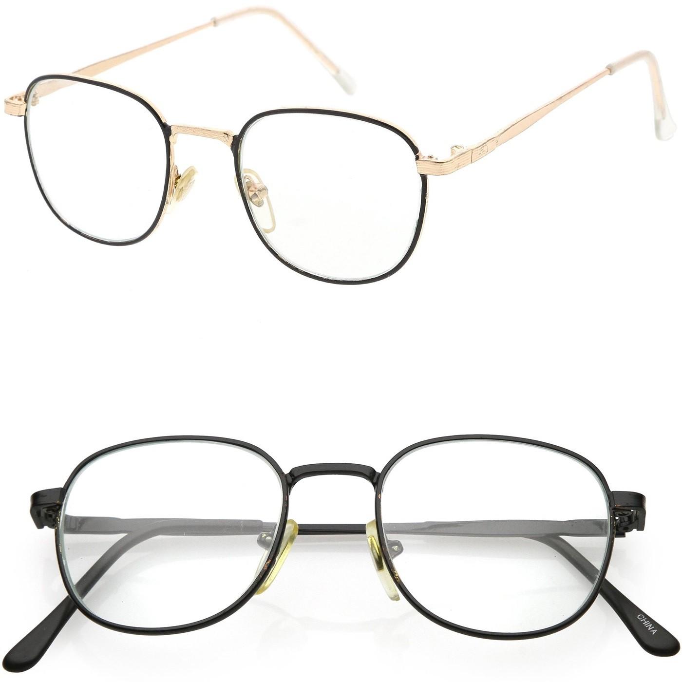 Lunettes neutre Hippie - mod. BREAKING BAD Walter - cadre optique VINTAGE homme femme unisex - Couleur : GOLD and BLACK