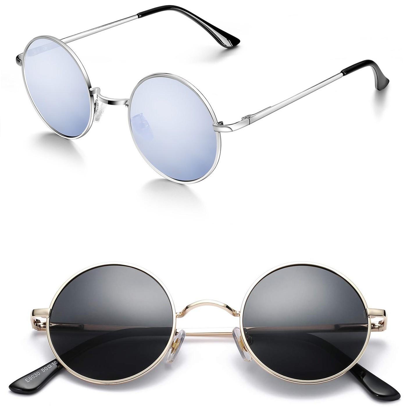 Occhiali da sole ROTONDI Hippie - stile TEASHADES John Lennon - Metallo Leggero VINTAGE uomo donna - Colore : GOLD / Blu Fumè