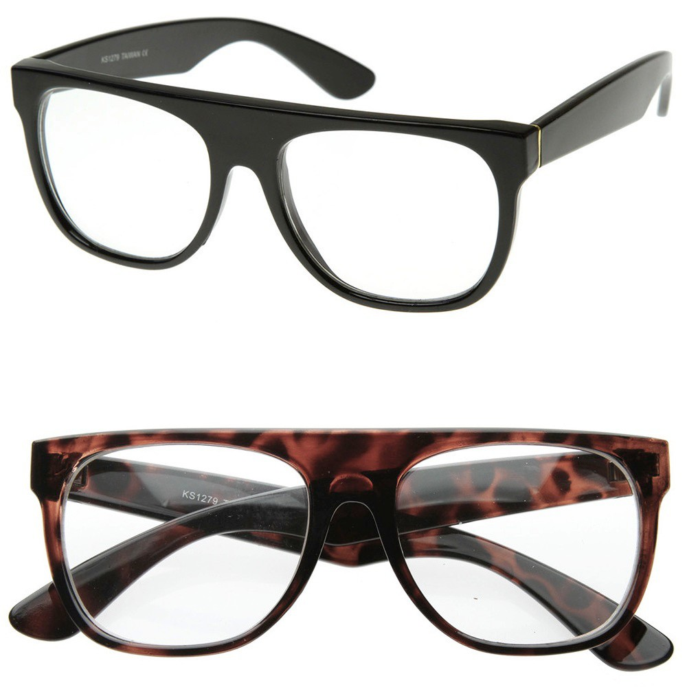 Glasses neutral KISS® - mod. LOUNGE SUPER - optical frame HIP-HOP man woman RAPPER vintage - Color : HAVANA